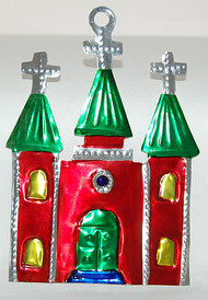 Church With Cross Tin Ornament