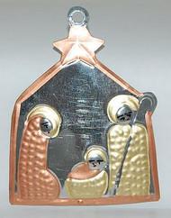 Tin Nativity Ornament Copper and Brass