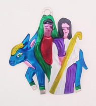 Tin Donkey With Mary and Joseph