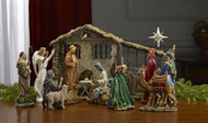 7 Inch Real Life Nativity Set with Lighted Creche and Kings Holy Family and Animals