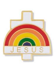 Jesus with Rainbow and Cross Lapel Pin