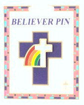 White Cross with Rainbow Believer Pin