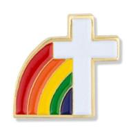 White Cross with Rainbow Lapel Pin