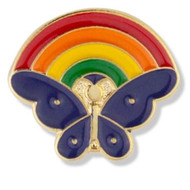 Butterfly with Rainbow Enameled Lapel Pin