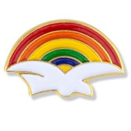 Dove with Rainbow Enameled Lapel Pin