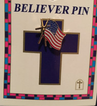 Cross with American Flag Believer Pin