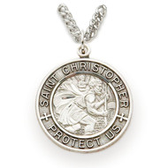 "1"" Sterling Silver Round Engraved St. Christopher Medal on 24"" Chain"