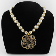 PEARL NECKLACE W/ UNIVERSAL MONOGRAM BY BOSOM BUDDY BAGS