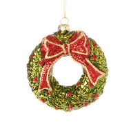 "Raz 4"" Glittered Wreath Christmas Ornament"