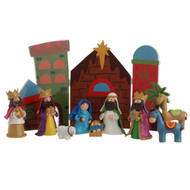 "12"" CRECHE WITH NATIVITY WOODEN HINGED"