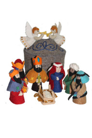 Gray Nativity Set - Handmade Wool