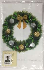 Handpainted Wreath with Ornaments Hand Towel