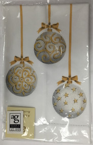 Handpainted Silver/Gold Hanging Ornaments Design Hand Towel