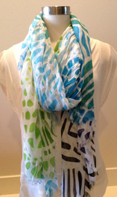 Blue Pacific Sea Glass Scarf - Cobalt, Navy, and Green
