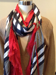 Plaid Dip Scarf - Red