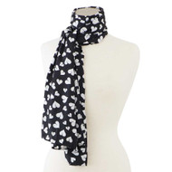 Black with White Heart Scarf