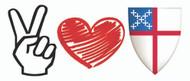 Peace, Love, Episcopal Church Bumper Sticker