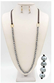 Grey Leather and Grey Knotted Crystal 36'' necklace