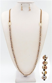 Brown Leather and Brown Knotted Crystal 36'' Necklace