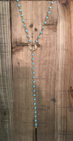 Blue Crystal Beaded Necklace with Gold Bar Drop