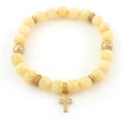 Cream Beaded Stretch Bracelet with Cross