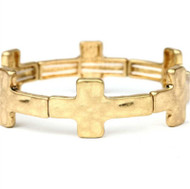 Cross Stretch Bracelet, Matte Gold Finish