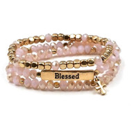 Pink Set of Three Blessed Stretch Bracelets