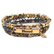 Blue Set of Three Blessed Stretch Bracelets