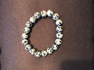 Beaded Stretch Bracelet, Black Speckled