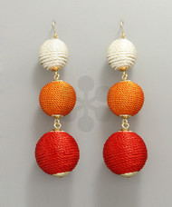 Thread Ball Drop Earrings - Red/Multi/Gold