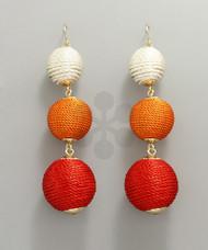Thread Ball Drop Earrings - Red/Multi/Gold