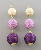 Thread Ball Drop Earrings - Purple/Gold