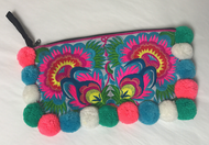 Pom Pom Cosmetic Wristlet - Blue/Pink/White/Green