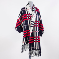 Reversible Plaid Sweater with Fringe - Navy/Red