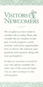 Visitors and Newcomers Card