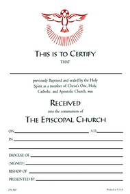 Reception Certificate #270 (Pack of 25)