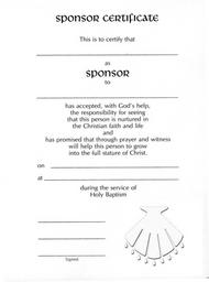 Embossed Sponsor/Godparent Certificate