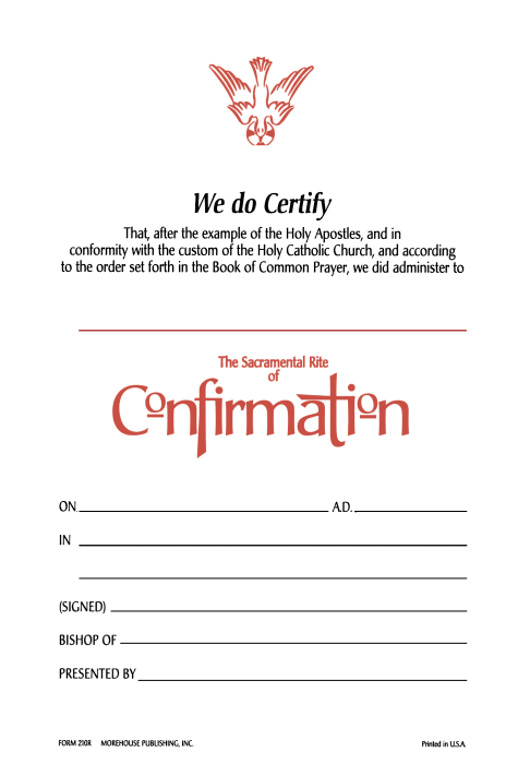 Confirmation Certificate 210r