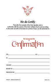 Confirmation Certificate #210R (Pack of 25)