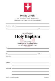 Baptism Certificate #110R (Pack of 25)