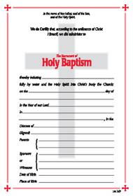 Baptismal Certificate # 101 (Pack of 25)