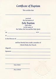 Embossed Baptismal Certificate