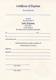 Embossed Baptismal Certificate #8115 (Pack of 12)
