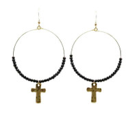 Black Crystal Hoop Earring with Gold Cross Drop