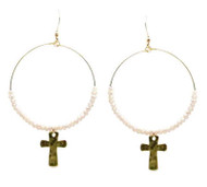 Pink Crystal Hoop Earring with Gold Cross Drop
