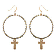 Gray Crystal Hoop Earring with Gold Cross Drop