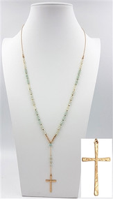 "Grey Crystal 36"" Y Necklace with Gold Cross Drop"