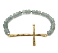 Grey Crystal Stretch Bracelet with Gold Cross