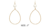 Gold Teardrop Earring with Pearl Accent