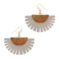 Gold and Grey Leather Tassel Earring